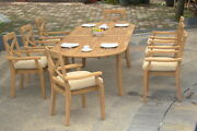 Granada Grade-a Teak Wood 9pc Dining 94 Oval Table 8 Stacking Arm Chair Set New