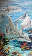 Dolphins Playing In The Sea Glass Mosaic Marine Lifeandnautical Mosaic Tile