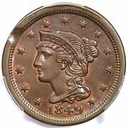 1849 N-21 R-4 Pcgs Ms 65 Bn Clipped Planchet Braided Hair Large Cent Coin 1c