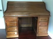 American Antique Oak Roll Top Desk Good Condition Early 1900s