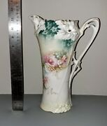 Rs Prussia Red Mark China Pitcher Chocolate Pot Canation Mold Antique Vintage