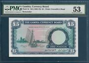 Gambia 5 Pounds 1965 - 1970 P 3 Pmg 53 Aunc / Error Or Remainder