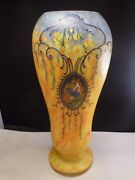 Large Art Glass Legras Vase, Yellow And White With Blue Birds, Signed, 1910 14