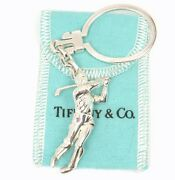 Rare Vintage And Co Sterling Silver Golf Player Key Ring Keychain Germany