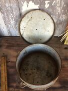 Vintage Metal Cheese Mold Strainer, Rare Complete With Side Straps And Lid,