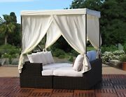 Contract Quality Outdoor Patio Woven Wicker Daybed With Sunbrella Cushions