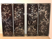 Rare Antique Chinese Lacquered Mother Of Pearl-embedded Wall Art 4 Flowers