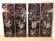 Rare Antique Chinese Lacquered, Mother Of Pearl-embedded Wall Art 4 Arts