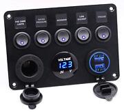 5 Gang On-off Toggle Switch Panel Dual Usb 12v For Car Boat Marine Truck Camper