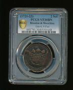 1721-23 Reunion And Mauritius Two Sol Pcgs Vf 30 Brown Bn Lec-4 9 Flur 2 Sol