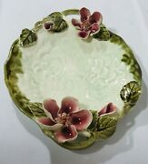 3D Raised Applied Flowers Glazed Ceramic Serving Platter Plate Art Basin Bowl