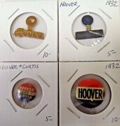 Hoover And Curtis Presidential Campaign Political Pinback Button Lot