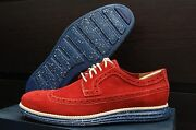 Cole Haan Lunargrand Long Wingtip Longwing Chili Pepper Suede 8 8m C12652