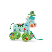 Djeco Wooden Pull-a-long Cow On Wheels Smily Toddler Toy