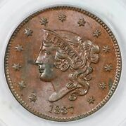 1837 Pcgs Ms 60 Bn Medium Letters Matron Or Coronet Head Large Cent Coin 1c