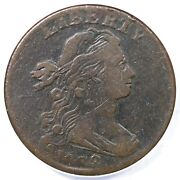 1798 S-180 R5+ Anacs Vf25 Style 2 Hair Draped Bust Large Cent Coin 1c
