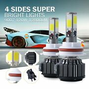 2pcs 4 Sides 6000k 120w 12800lm Led Headlight Pair 9007 High And Low Beams