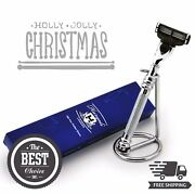 Stainless Steel Triple Edge Razor And Stand Menand039s Wet Shaving Gift Kit For Him
