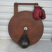 Vintage 1940s Leather Boxing Punching Speed Bag Complete Set-up W/ Gloves Decor