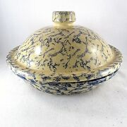Pottery Pie Plate Robinson Ransbottom Blue Spongeware Lid Baking Serving Dish