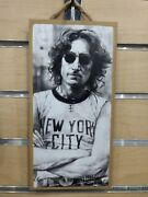 John Lennon The Beatles Wood Sign 5x10 Wall Decor With Hanging Rope