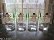 4 Garden Party Of Vermont Hand Painted Glassescoolersholiday Snowmannew