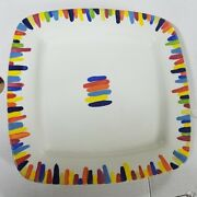 """Handmade Serving Plate Signed Pottery Avalon 2000 Hand Painted 12.5"""" Rainbow"""