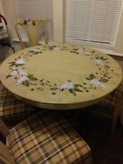 Wow Look @ This Hand Painted Antique Table W 4 Chairs And 2 Leafs Lion Face Feet