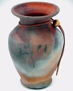 Raku Studio Art Pottery Vase Handcrafted Straight Rim Matte Copper Blue Gray 6""
