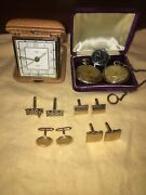 Vintage Pocket Watches Travel Clock And Cuff Links