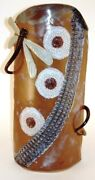 Stoneware Pottery Hand Built Large Vase Dragonfly Flowers Blue Tan White OOAK