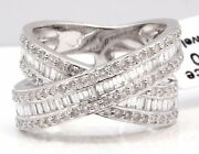 Huge Diamond Cocktail Ring 1.75 Carat Invisible 14k White Gold Crossover