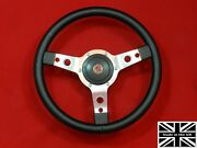 14 Vinyl Steering Wheel-red Stitching And Hub. Fits Mgb Gt 1976 And Later