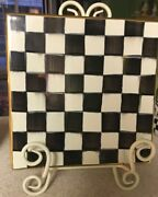 "New Mackenzie Childs Courtly Check Ceramic Tile Trivet w/Gold Trim Large  8""x 8"""