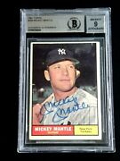 Mickey Mantle Beckett Graded 9 Mint Signed 1961 Topps Card 300 Autographed