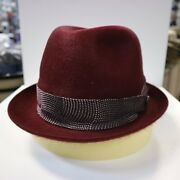 Borsalino Burgundy Trilby Med Hair Fur Felt Fedora Dress Hat Read Below 4 Size