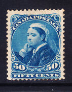 Canada Qv 1893 Sg116 50c Blue - Mounted Mint - Light Toning. Catalogue Andpound275