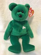 Ty Beanie Babies Erin Green St. Patrickand039s Day Teddy Bear - Mint Retired 1997