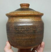 Vintage Studio Art Pottery Lidded Canister Signed NC w/ Stamp