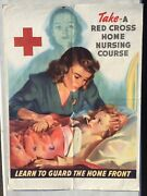 1943 Wwii Poster -american Red Cross Home Nursing Course W/ Nurse And Patient