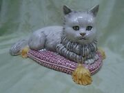 Vintage Italian Art Pottery CAT ON PINK PILLOW Statue Figurine Italy Signed