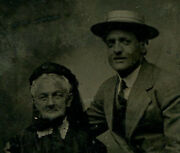 She Is A Cougar. Older Woman Younger Man. Tintype.