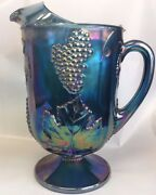 Huge Carnival Glass Indiana Blue Iridescent Harvest Grapes Leaves Footed Pitcher