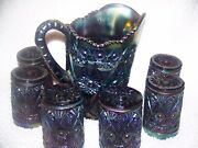From Imperial-diamond And Lace Rare Carnival Glass Pitcher And Six Tumblers