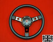 14 Vinyl Steering Wheel-black Spokes And Hub. Fits Mgb Gt 1976 And Later