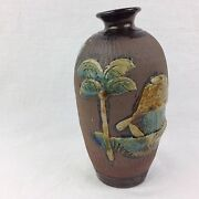 """Hand Thrown Pottery Vase 3D Art Painted Tropical Scene Brown Blue 6"""" Tall"""