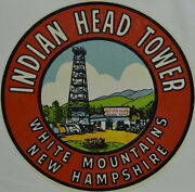 Original Vintage Travel Decal Indian Head New Hampshire White Mountains Auto Old