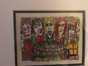 James Rizzi 3-d Artwork Birthday Party Signed 1989 Framed