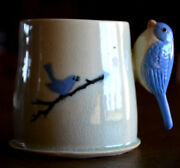 Eastern Bluebird studio Pottery Mug-bird handle-HANDCRAFTED UNIQUE COUNTRY DECOR