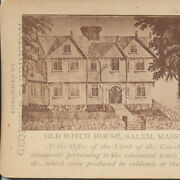 Stereoview Lithograph Old Witch Hose W/ Information - Salem, Mass